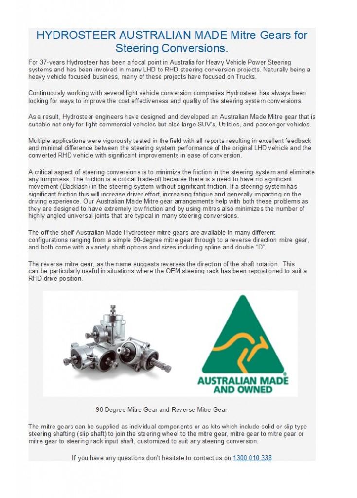 Hydrosteer's Australian Made Mitre Gears